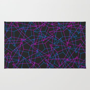 Abstract Geometric 3D Triangle Pattern in Blue / Pink Rug by Badbugs_art