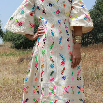 Fantastic Frida Maxi Dress Hand Embroidered Mexican by Vdingy