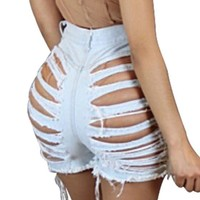 Light Blue Irregular Pockets Zipper Mid Waist Short Jeans