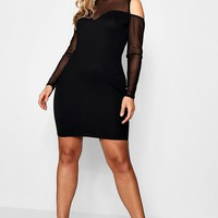 Plus Sasha Mesh Cold Shoulder Bodycon Dress | Boohoo