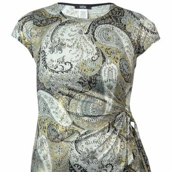 MSK Women's Sequin Metallic Print Jersey Faux Wrap Blouse