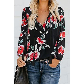 Black Floral Print Peasant Long Sleeve Blouse