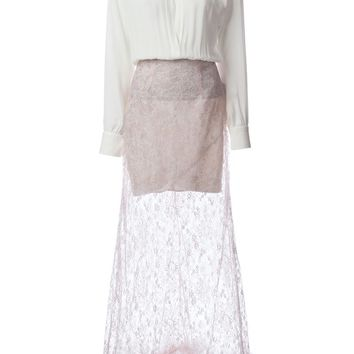 Alessandra Rich layered lace faux-fur trimmed long dress