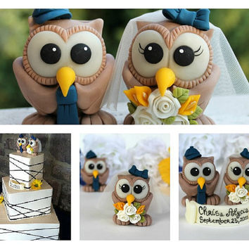 Custom wedding cake topper, brown owl cake topper personalized with banner
