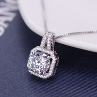 Luxurious New Color Silver Jewelry AAA CZ Diamond Rhinestone Square Choker Necklace Women Gift Necklaces