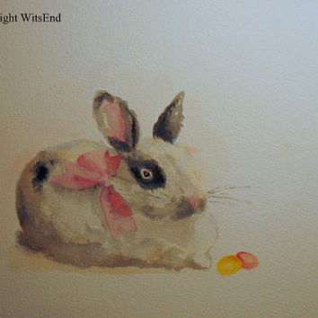 bunny rabbit watercolor painting free shipping The by 4WitsEnd