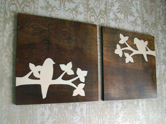 Rustic White Bird Silhouette Wood Wall From Elwoodworks