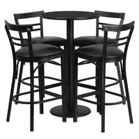 24'' Round Black Laminate Table Set with 4 Ladder Back Bar Stools - Black Vinyl Seat