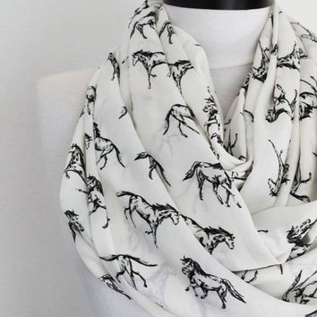 horse scarf,print scarf,long scarf,scarves,infinity scarf,scarf,