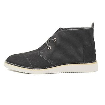 Toms for Men: Mateo Chukka Black Embossed Suede Boots