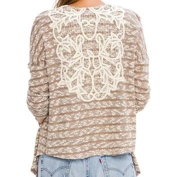 Marbled Beige Knit Lace Detail Cardigan