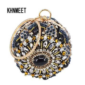 Family Friends party Board game Fashion Black Round ball Wristlets Women Clutch Evening Bag party banquet Purse Day Clutches Female Crystal pochette handbags AT_41_3