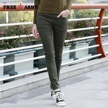 New Slim Fitted Pants Army Green Women Long Trousers Causal Army Green Narrow Pants Women Pencil Pants
