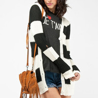Wide Stripe Knit Cardigan in Black and White :: tobi