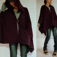 Hoodie Coat / Hoodie Jacket / Cape Coat / Hoodie Wrap / Burgundy Red - Purple Jacket / Women Outerwear