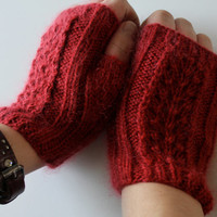 hand knit red lace  fingerless gloves