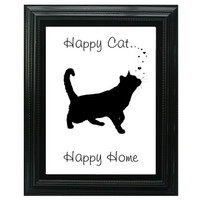 Happy Cat Happy Home, Cat lover's Art, Black Cat Wall Art Quote, Typography Print,  Friendship Gift