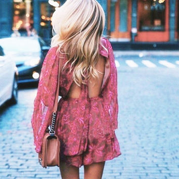 Sexy high neck long sleeve print flower backless romper