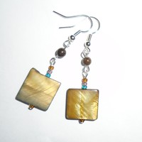 Artisan Earrings Handmade Boho style Shell Glass Silver Dangle Hook Fashion USA