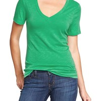 Women's Slub-Knit V-Neck Tees