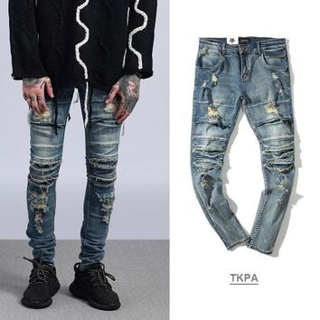 Ripped Holes Rinsed Denim Weathered Men Denim Jeans [411396374557]