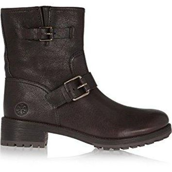 Tory Burch Chrystie Coconut Brown Platform Leather Booties Boots