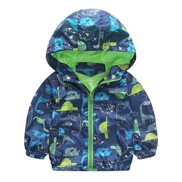 Autumn Cute Animal Windbreaker Kids Jacket Boys Dinosaur Baby Outerwear Coats Boys Kids Hooded Children Clothing 90-120cm