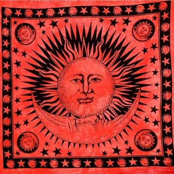 Hippie Hippy Sun Moon Tapestry Tapestries, Psychedelic Celestial Stars Tapestry, Indian Tapestry, Wall Hanging Tapestry, Queen Dorm Bedding