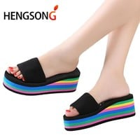 Womens Slippers Summer Fashion Rainbow Slides Home Shoes Wedge Heels Beach Sandals