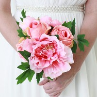 """Silk Peony and Rose Bouquet in Pink - 12"""" Tall"""