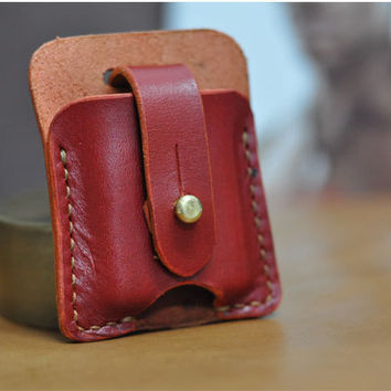 Hand Stitched Vintage Leather Lighter Case Zippo cover Handmade Red Leather ZIPPO holder