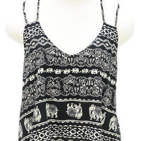 Elephant print double strap sleeveless tank top