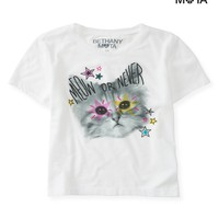 Aeropostale Womens Meow Crop Graphic T-Shirt - White,