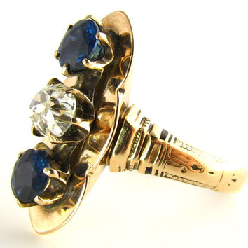 Victorian Diamond Ring with Blue Sapphires: Appraised $2450 in Yellow Gold