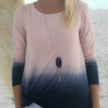 Beige Ombre Long Sleeve T-Shirt