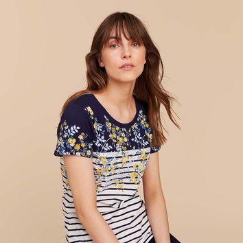 Nessa print NAVY GOLD DITSY Pattern Jersey T Shirt | Joules US