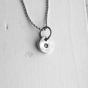 Sample Sale, Tiny Initial Necklace, Letter e Necklace, Monogram Necklace, Hand Stamped Necklace, Charm Necklace, Sterling Silver Jewelry