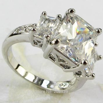 YaYi Jewelry Stunning Fashion 4.8CT White Zircon Heavy  Silver Color Ring