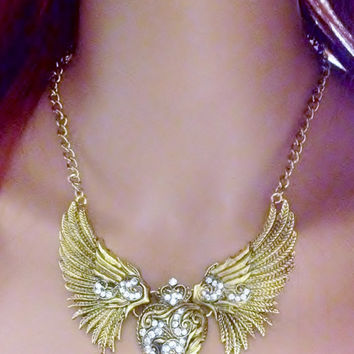 Gorgeous Gold Tone Angel Heart Wing Necklace.