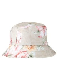 Tan Combo Floral Brocade Bucket Hat by Charlotte Russe