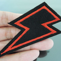 Flash Patches - Iron on Patches or Sewing on Patch Red Black Patches Embroidered Patch Lightning Bolt Embellishment