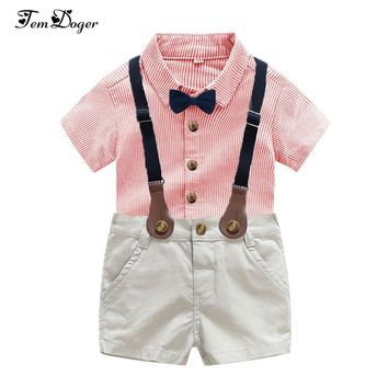 Tem Doge Baby Boy Clothing Set Summer Infant Newborn Boys Clothes Shorts Sleeve Tops+Suspender Shorts 2PCS Fashion Bebes Clothes