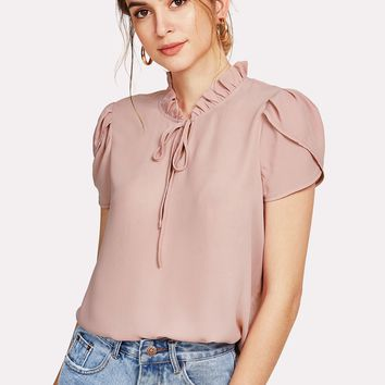 Frill Trim Tie Neck Petal Sleeve Top