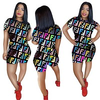 FENDI Summer Popular Woman Casual Print Short Sleeve Top Shorts Set Two Piece