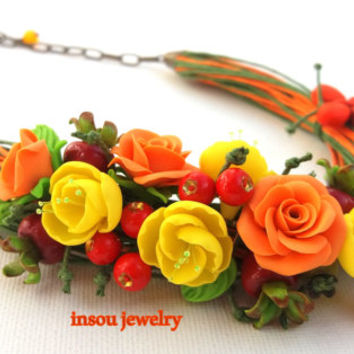 Statement Necklace,Flower Necklace,Spring Jewelry,Orange Green,Multi strand Necklace,Handmade Necklace,Floral Fashion,gift For Her,Roses