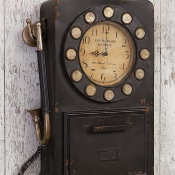 Vintage-style Phone Wall Clock With Key Compartment