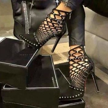 2017 Gladiator Roman Sandals Summer Rivets Studded Cut Out Caged Ankle Boots Stiletto High Heel Women Sexy Shoes Party Bootie