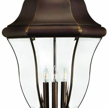 "0-018893>27""h Monticello 4-Light Extra-Large Outdoor Post Lantern Copper Bronze"