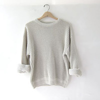vintage slouchy sweater. chunky oatmeal sweater. oversized pullover shirt.