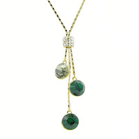 Crystal Tower Sparkle Rhinestone Necklace (Green)